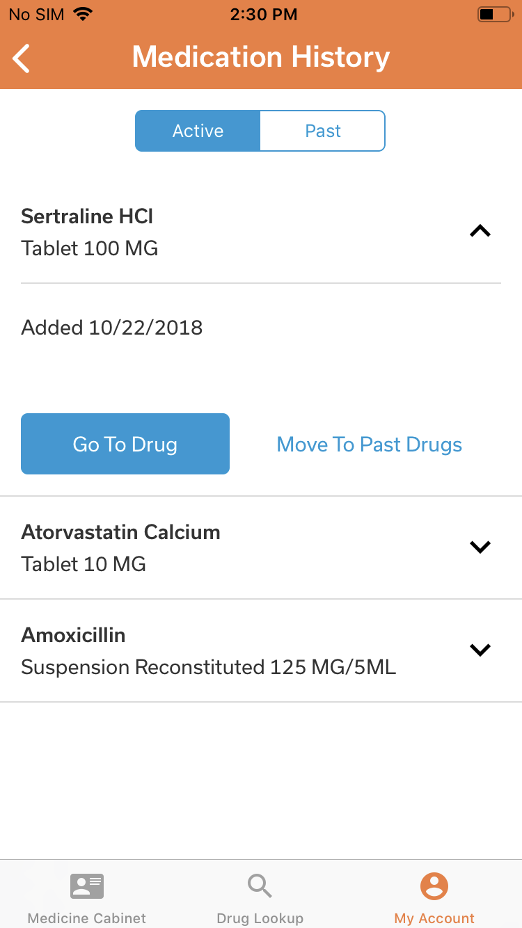 Medication History – iOS