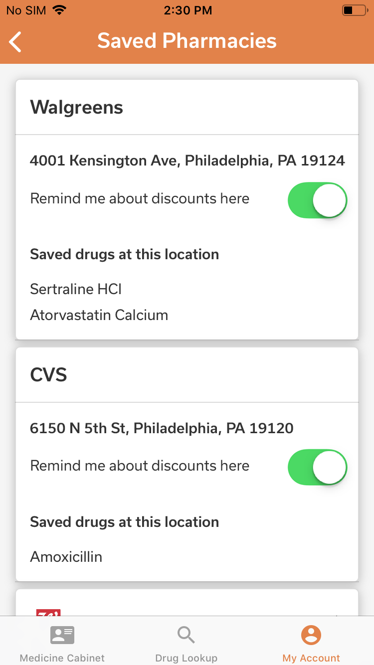 Saved Pharmacies – iOS