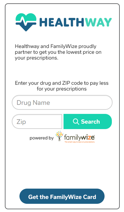 HealthWay FamilyWize Prescription Price Comparison Widget